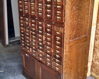 Vintage Library Card Catalog  120 drawer