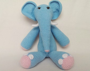 Hand crocheted amigurumi toy elephant. Hand made with soft cotton/acrylic mix.