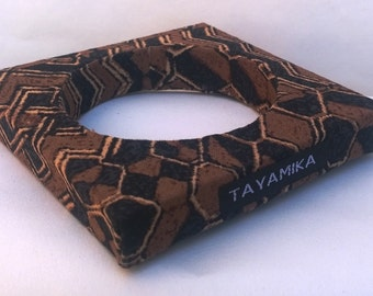 Africa Aztec Print Fabric Covered Square Bangle Bracelet ***( Make me an offer for this item)***