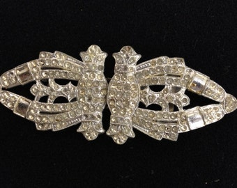 Vintage Intricate White Rhinestone Separating Double Buckle