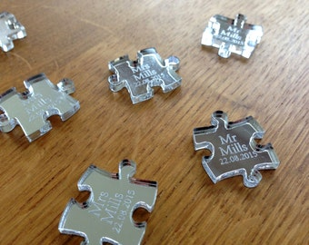 Personalised Silver Mirror Laser Cut Puzzle Piece Wedding Table Decoration Gift / Favours
