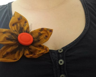 Flower Brooch ~ Mustard yellow aned orange handmade fabric flower brooch, bag accessory, scarf pin