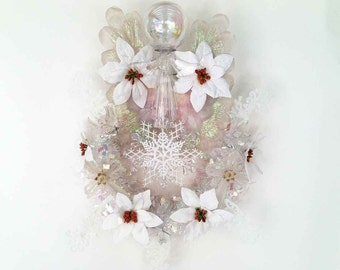 The Iridescent Space Angel x Snowflake Hand Crafted Christmas Wreath: OOAK Home Decor