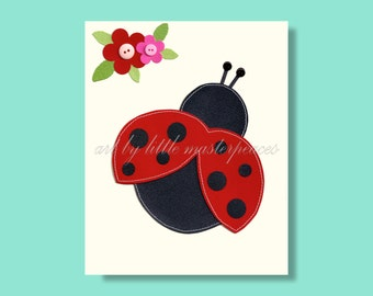 Ladybug wall art print, 8x10 stitched paper art print, baby girl nursery art, girls room decor, ladybird wall art, girls ladybird print