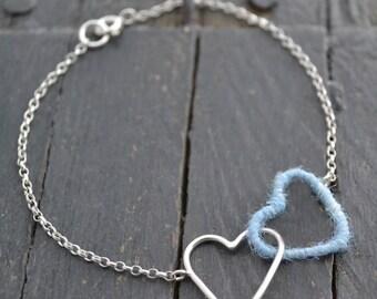 Silver & Wool Heart Bracelet
