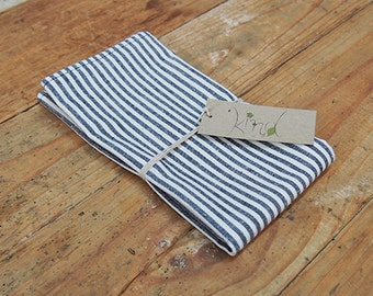 Hemp/Organic Cotton Napkins - Indigo Stripe (set of 2)