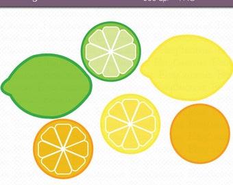 Citrus Digital Art Set Clipart INSTANT DOWNLOAD Fruit Clipart Lemon Lime Orange Clipart