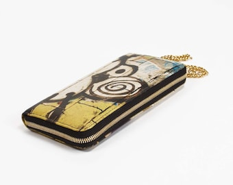 Zip Around Graffiti Kat Printed Leather iPhone Wallet with Chain Wristlet