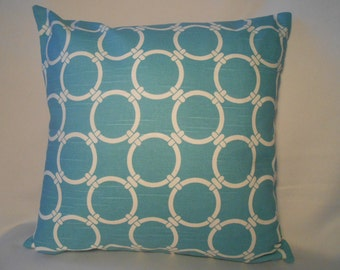 16 x 16 Linked Coastal Blue Pillow Cover