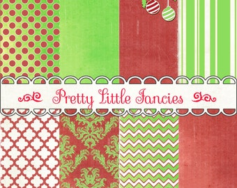 Christmas Backgrounds digital  paper pack Red and Lime Green