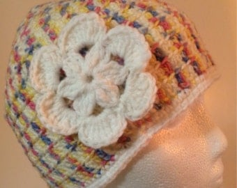 Womens multicolor crochet hat with white flower