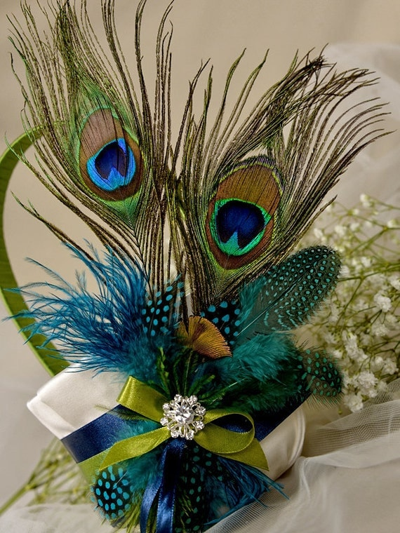 Flower Girl Baskets Peacock : Flower girl basket peacock feathers by forlovepolkadots on
