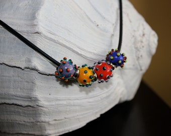 Lampwork glass bumpy bead necklace