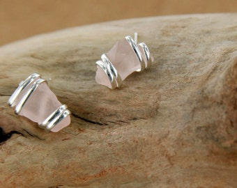 Pink Sea Glass Stud Earring