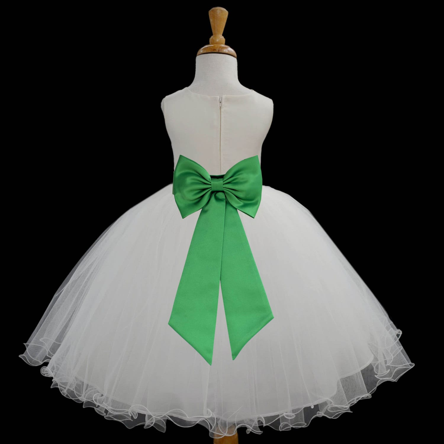 Ivory Flower Girl dress tie sash pageant wedding by