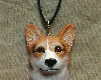 Custom Sculpted Original Sculpture Cat or Dog Necklace Pendant Portrait of your Pet with Sterling Silver Ring Bail and fiber cord