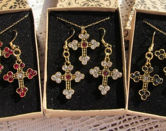 Demi Parure Sweetheart Set Pewter Cross Charms Set with Swarovski Crystals