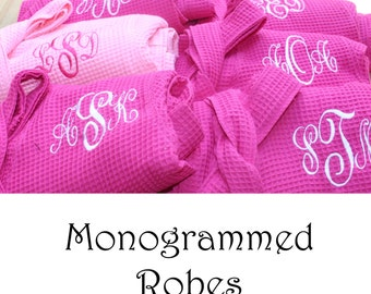 9 Personalized Bridesmaids Gifts, Monogrammed Robe Set of 9, Waffle Robe, Bridesmaid  Robe, Getting Ready Robe Gifts, Kimono Robe