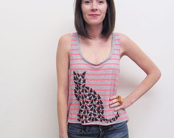 Womens Cat Tank, Screenprinted Tank Top, Cat Silhouettes