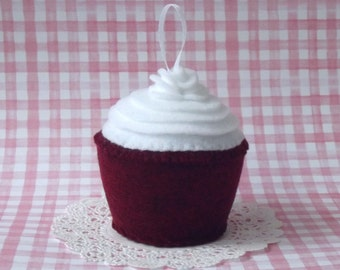 Southern Red Velvet Plush Cupcake with Rose Ornament - Felt Cupcake Ornament - Plush Cupcake Holiday Ornament Cupcake