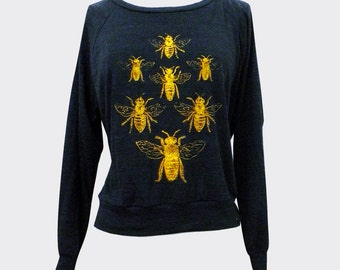 BEES Sweater -  Honey Bee Insect Bug print on a SOFT vintage feel raglan - (Available in sizes S, M, L)