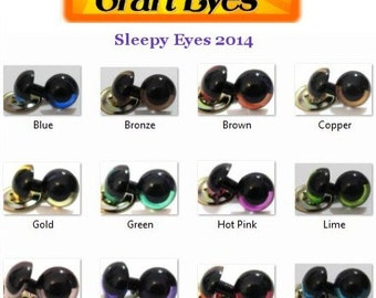 10 Pair of SLEEPY Premium craft animal eyes with washers - You Choose The Color & Size!