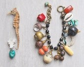 Nature Lover Charm Bracelet - wood, shell, seeds, bone and gems - recycled natural eco friendly materials