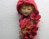 OOAK art doll, Tara Spirit of Compassion, Assenblage figure, Moon Goddess, Handcrafter Zen Art, Red Tara art doll, wall decoration