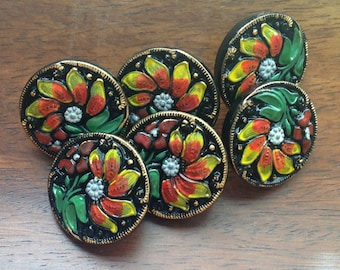 Czech glass button black with floral pattern 18mm
