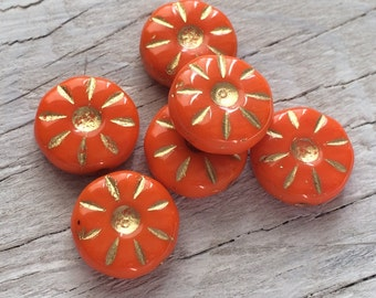Czech glass beads flower daisy coin beads orange pack of 6 (FL10)