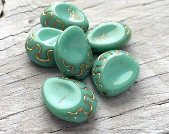 Czech teardrop beads turquoise with gold inlay package of 6