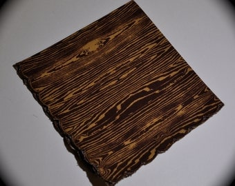 Wood Grain Faux Bois 2 Print Handmade Handkerchief -- Vintage Style Scalloped Edge -- for Women