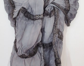 Nuno Felted Wool and Silk Scarf  or Wrap (Free Shipping)