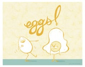 Sily Eggs Illustration 8 x 10 Funny food Breakfast print for the Kitchen