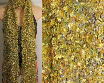 Scarf Hand Made Knit Eyelash Polyester Nylon Yellow