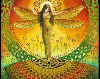 Dragonfly Goddess Mythology Celtic Pagan Original Painting