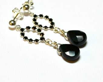 Night Out Earrings / Black, Crystal, Dangle, Silver, Post