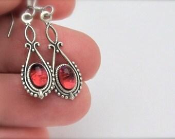Dainty Rose Earrings, Vintage Style, Art Deco Art Nouveau, Dangle Earrings, Dainty Dangle Earrings, Antiqued Silvertone,