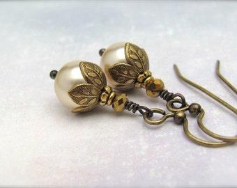 Gold Pearl Earrings, Swarovski Crystal Pearls, Antiqued Brass Dangle Earrings, Gift for Her, Valentine Wedding Bride Bridesmaid, Office