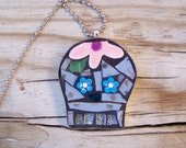 Mosaic Skull Art Pendant with Chain and Colorful Tiles
