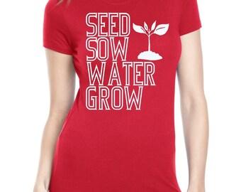 How Gardens Grow Shirt  Screen Printed Ladies Vegan Vegetatrian Clothing Veggies Gardening Farmers Market Shirt