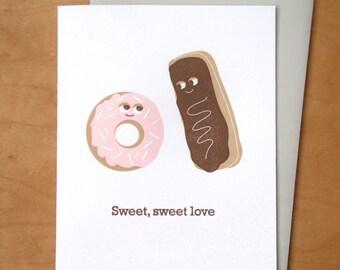 Sweet, Sweet Love - Donuts - Letterpress Card