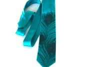 Teal blue peacock tie. Peacock feather men's silk necktie. Silkscreened tie, slate print. Choose from teal silk and more.