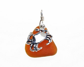 Crab Pendant - Light Rootbeer Brown Sea Glass & Sterling Silver Charm