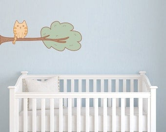 Whimsical Branch with Kitten - Vinyl Wall Decal