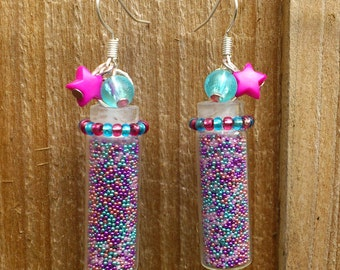 Pink and Blue Glitter Vials Earrings - Miniature glass jars or bottles filled with fuchsia and turquoise accent beads - hot pink star beads