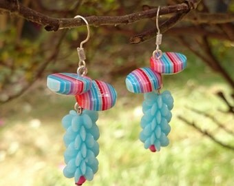 Plastic Fantastic Pastel Earrings - Abstract spiky blue beads and round stripy resin beads in pink, red and blue - unusual, unique, quirky!