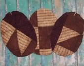 3 Primitive Easter Egg Ornaments, Antique Quilt Eggs, Spring Decor, burgundy brown black white
