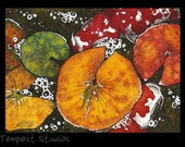 Autumn Koi Original ACEO 2.5 x 3.5 Watercolor Painting Trading Card Art