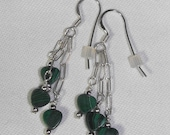 Malachite Heart Earrings & Sterling Silver Ear Wires